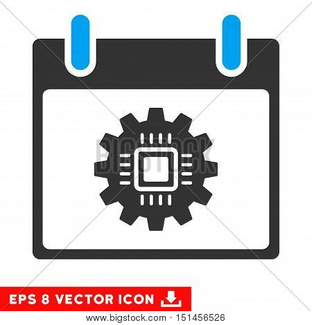 Chip Gear Calendar Day icon. Vector EPS illustration style is flat iconic bicolor symbol, blue and gray colors.