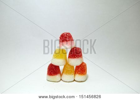 Orange yellow and red candy soft candy