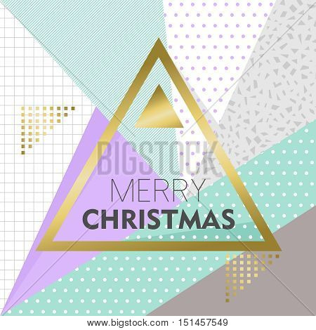 Gold Merry Christmas Design On Retro Background
