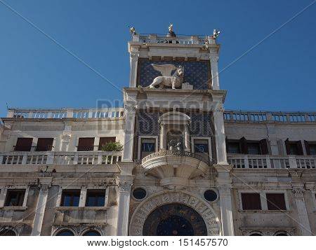 Torre dell Orologio (meaning Clock Tower) in San Marco square in Venice Italy