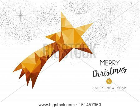 Gold Christmas New Year Star Ornament In Low Poly