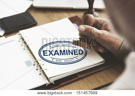 Examined Authorized Certified Verified Approve Concept