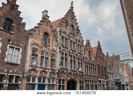 Street view in Brugge during autumn time