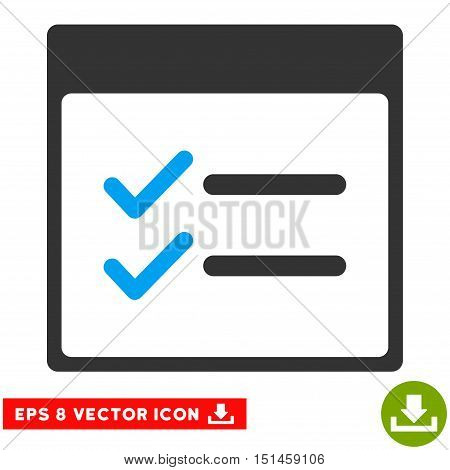 Done Items Calendar Page icon. Vector EPS illustration style is flat iconic bicolor symbol, blue and gray colors.