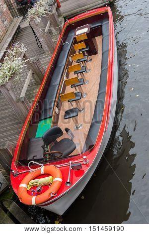 passenger boat as tourist attraction in Brugge Belgium