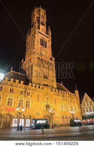 night picture of belfried tower in Brugge Belgium