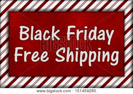 Black Friday Shopping Free Shipping Candy Cane Striped Frame with plush red background with text Black Friday Free Shipping 3D Illustration