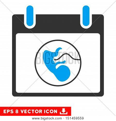 Embryo Calendar Day icon. Vector EPS illustration style is flat iconic bicolor symbol, blue and gray colors.