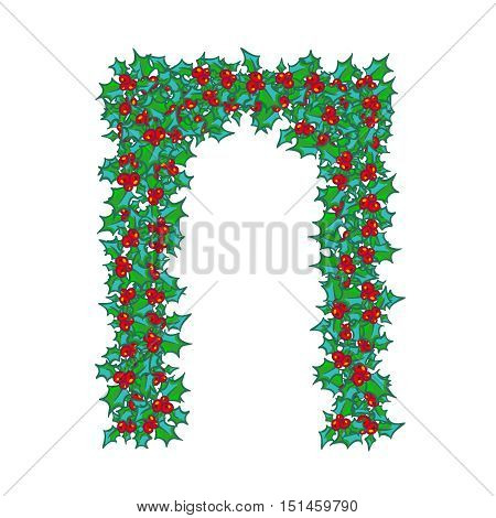 Holly Arch. background, design element for Christmas and New Year greeting card or banner. Holly with berry, isolated on white