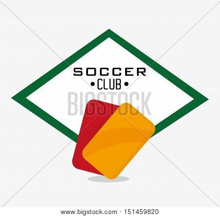 Red and yellow card icon. Soccer sport competition game and hobby theme. Colorful design. Vector illustration