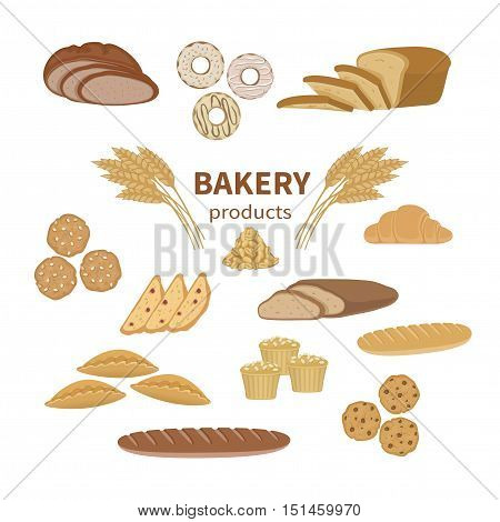 Set of bakery fresh bread and pastry. Food Collection and shop elements of sliced ??loaf, french baguette, rye bread, wheat branch, croissant, muffins, biscotti, cookies, pies, donut.Vector illustration