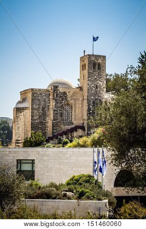 JERUSALEM, ISRAEL - OCTOBER 5: View of Scottish St. Andrews Church, outside the walls of the Old City in Jerusalem, Israel on October 5, 2016