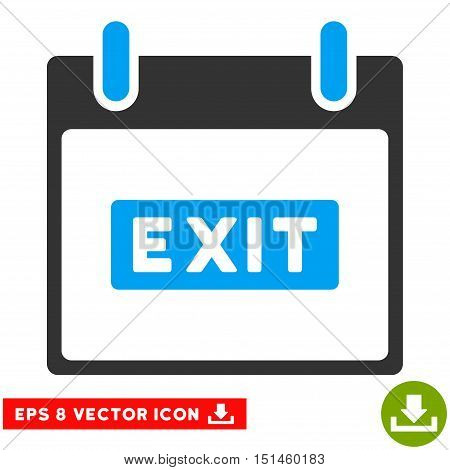 Exit Caption Calendar Day icon. Vector EPS illustration style is flat iconic bicolor symbol, blue and gray colors.