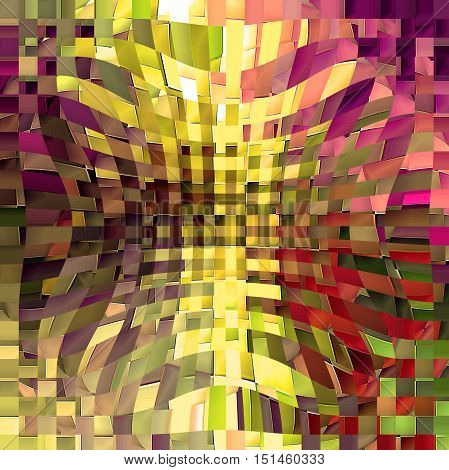 Abstract coloring background of the horizon gradient with visual mosaic, cubism, spherize and pinch effects