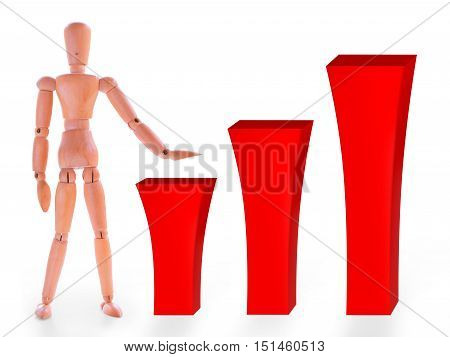 Wooden dummy and three red growing bar. Growing graph or infographics concept