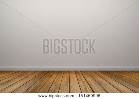 3D Rendering : illustration of Background empty room. With space for your text and picture. 3d render blank trade show booth for designers.white wall and wooden floor