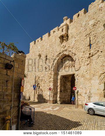 JERUSALEM, ISRAEL - OCTOBER 5: Zion Gate of the Old City of Jerusalem, Israel on October 5, 2016