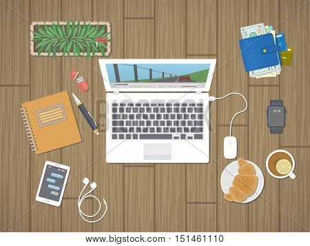 Desktop with laptop running the media player, personals, phone with messages, smart watch, headphones, notepad, tea, croissant. Relaxation, worktop, break, viewing film, play the game Top view Vector