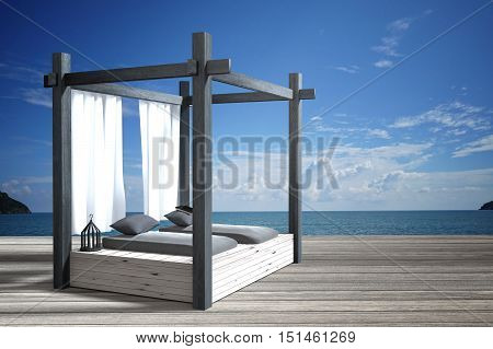 3D rendering : illustration of modern wooden beach lounge decoration at balcony outdoor wooden room style with Sundeck on Sea view for vacation and summer / 3d render outdoor living.best living concept