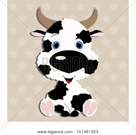 cute Cow baby. Template for design and decoration. cute sticker album, scrapbook. Baby vector illustration.