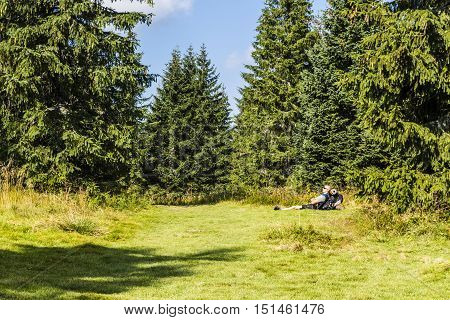 Man Rests In A Clearing.