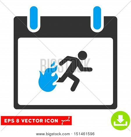 Fire Evacuation Man Calendar Day icon. Vector EPS illustration style is flat iconic bicolor symbol, blue and gray colors.