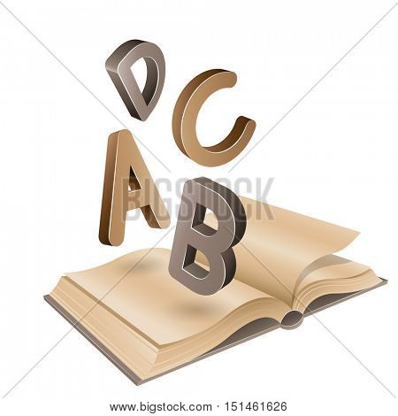 Vector Illustration of Open Old Book and Flying Brown Letters isolated on a White Background