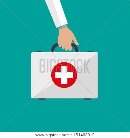 first aid kit in the doctors hands. Healthcare, hospital and medical diagnostics. vector illustration in flat style