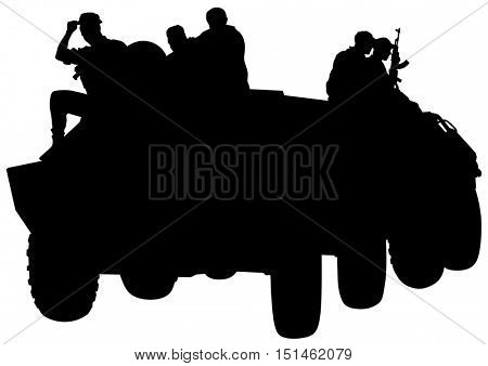 Fighting vehicle and soldiers on a white background