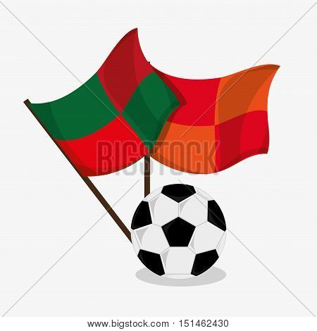 Ball and flag icon. Soccer sport competition game and hobby theme. Colorful design. Vector illustration