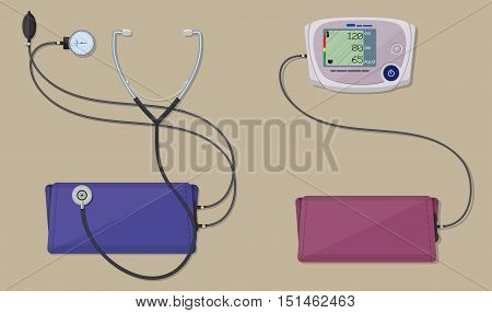 modern digital and classic blood pressure measuring monometer. vector illustration in flat style