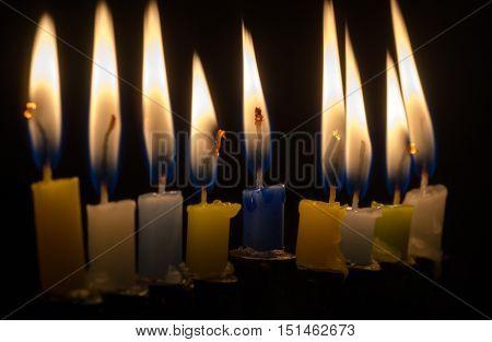 Hanukkah candles light. Hanukkah is a Jewish holiday