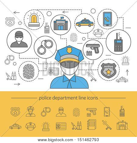 Police department line composition with banner and isolated icon set at the bottom vector illustration
