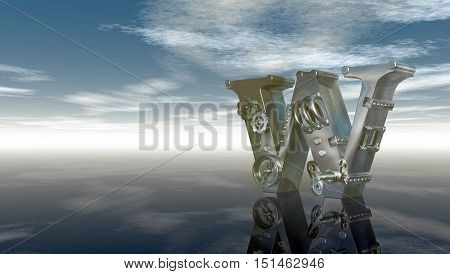 machine letter w under cloudy sky - 3d illustration
