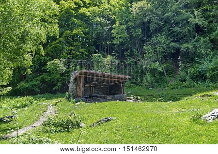 Shelter in Vitosha mountain at spring, near Sofia