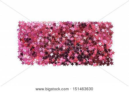 Rectangle pile of pink star shaped confetti isolated over white