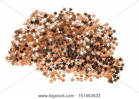 Abstract golden star shaped confetti on white background