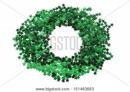 Green circle blank frame of green sparkles isolated over white