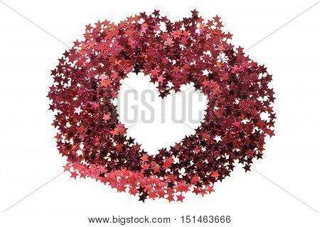 Red heart shaped frame of glitter isolated over white