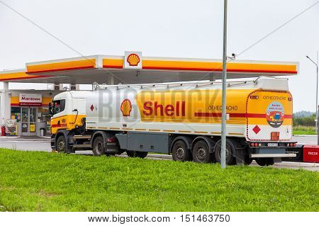 LENINGRAD REGION RUSSIA - JULY 31 2016: Shell Oil Truck at the gas station Shell. Royal Dutch Shell or Shell is an Anglo-Dutch multinational oil and gas company