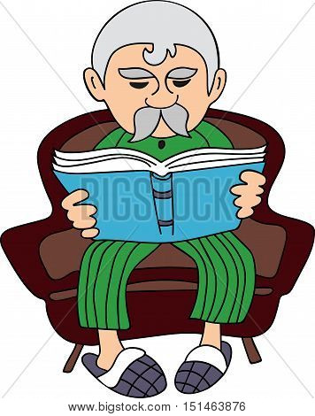 Vector Illustration grandfather reading a book sitting in the armchair
