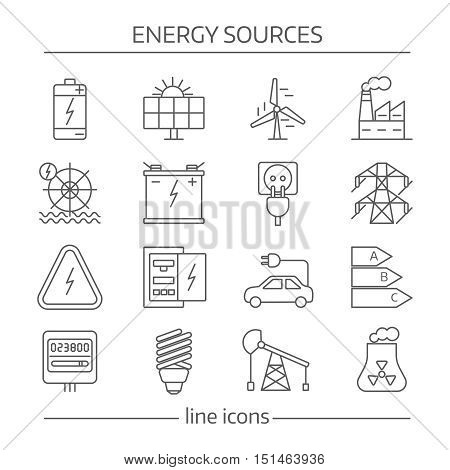 Energy sources line icon set with different signs and elements on white background vector illustration