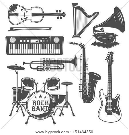 Music monochrome elements set with violin and harp synthesizer quitar percussions and saxophone isolated vector illustration