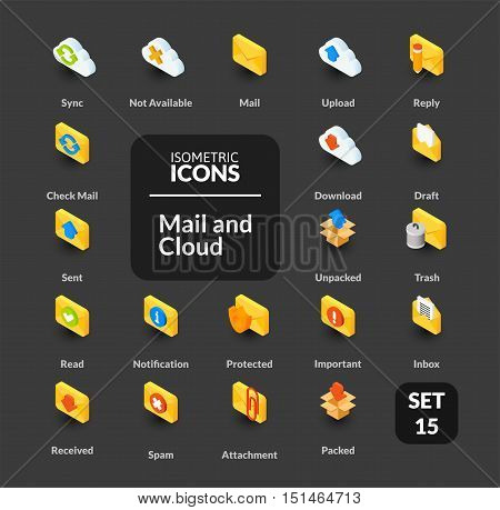 Color icons set in flat isometric illustration style, vector symbols - Mail and cloud collection
