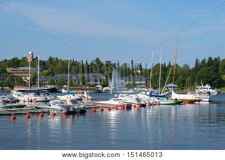 LAPPEENRANTA, FINLAND - AUGUST 21, 2016: August morning in the port of Lappeenranta. Tourist landmark