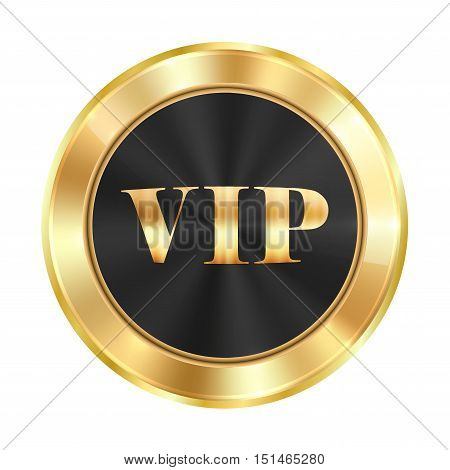 Vector medal made of gold with a black glossy background and golden inscription VIP