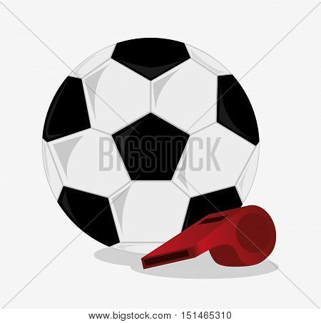 Ball and whistle icon. Soccer sport competition game and hobby theme. Colorful design. Vector illustration