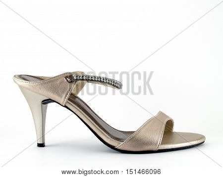 brown high heel shoe with straps adorned with crystals isolated on white background, women's shoes simple and luxury style