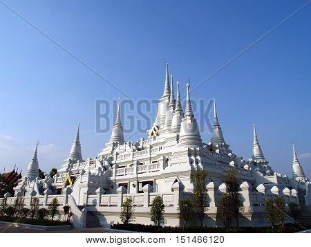 thirteen white pagoda at wat Asokaram (public place in Thailand), this temple is popular tourist destination near Bangkok