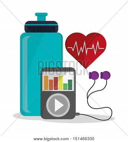Bottle mp3 and heart pulse icon. Fitness gym bodybuilding and healthy lifestyle theme. Colorful design. Vector illustration